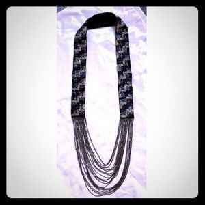Jewelry - Beaded Fabric and Chain Statement Necklace